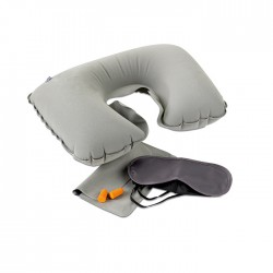 TRAVELPLUS - Travel set including a velvet inflatable pillow