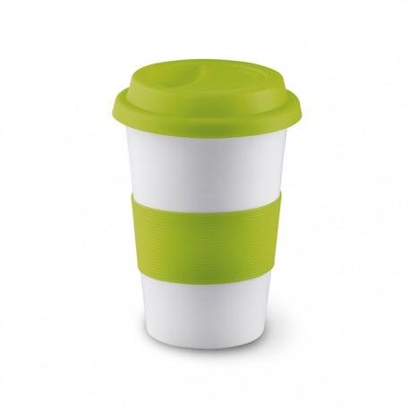 TRIBECA - Ceramic mug with silicone lid