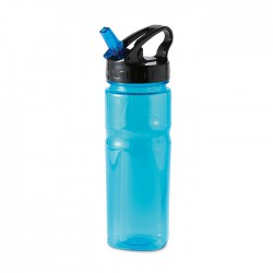 Plastic bottle including foldable straw