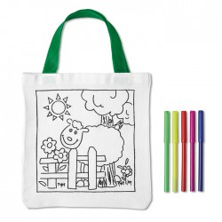 Cotton tote bag with 5 sketch pens