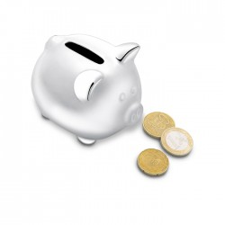 Ceramic piggy bank in silver colour