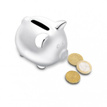 SILVY - Ceramic piggy bank in silver colour