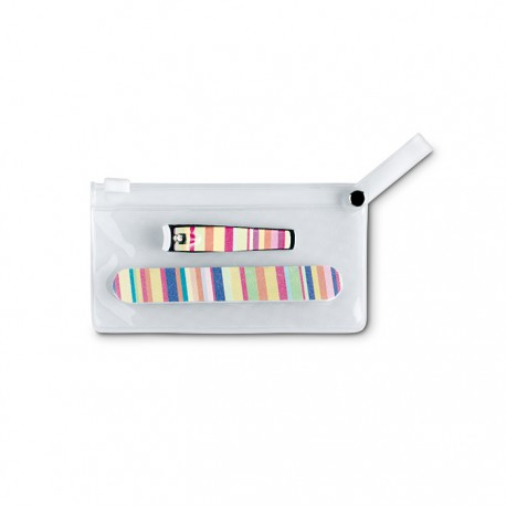 ARME - Colourful manicure set in clear PVC pouch