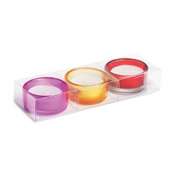 THOLDY - Set of 3 glass tea light holder