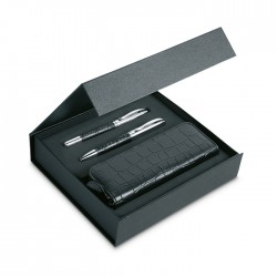 ANNECY - Elegant pen set including a twist blue ink ball pen