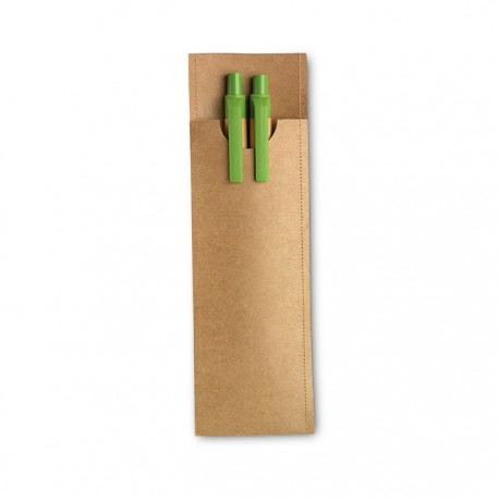 GREENSET - Paper barrel pen set which includes a push type ball pen