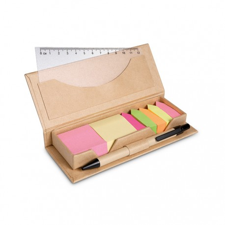 STIBOX - Cardboard box dispenser containing 2 coloured sticky notes