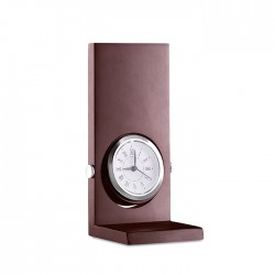Wooden stand with analogue clock