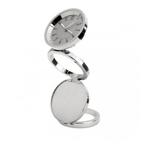 RINGY - Foldable desk clock in shiny metal finish