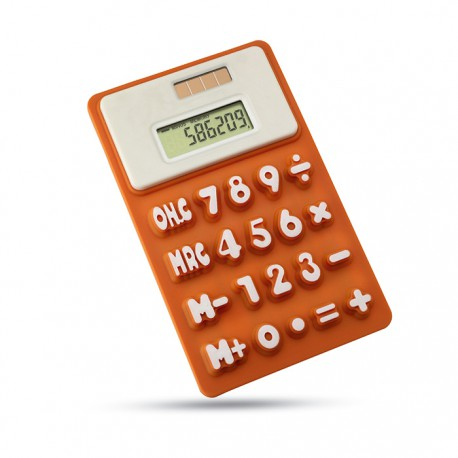 FLEXICAL - 8 digit dual power calculator with soft and flexible silicone keypad