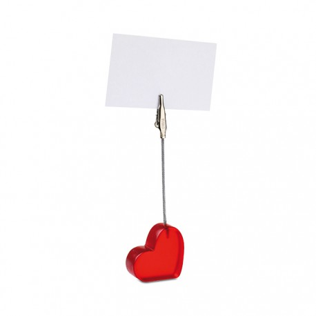 Heart shaped desk clip with red translucent polyresin base