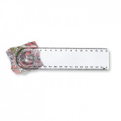 15cm plastic ruler with magnifier and protractor