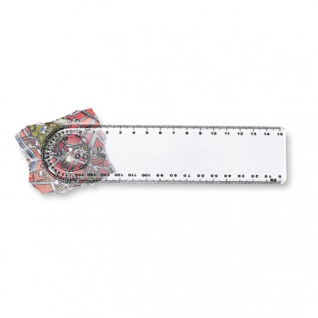 LASTA - 15cm plastic ruler with magnifier and protractor