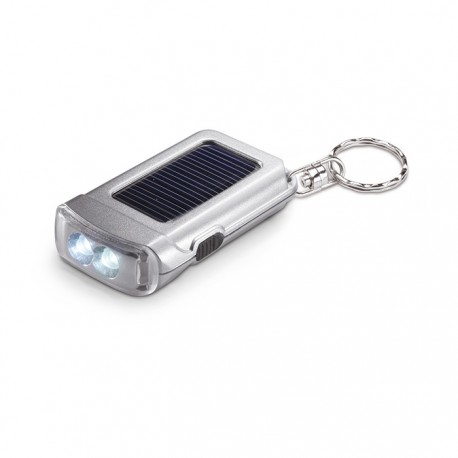 RINGAL - Satin silver torch keyring with 2 white LED bulbs