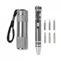 COMBITOOL - Tool set with 9 LED aluminium torch