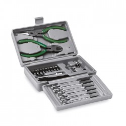 Foldable 25 pieces tool set including tweezers