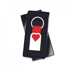 BONHEUR - Metal key ring in matt pearl finish in hollow heart shape