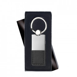 COLUMBUS - Metal and PU leather key ring