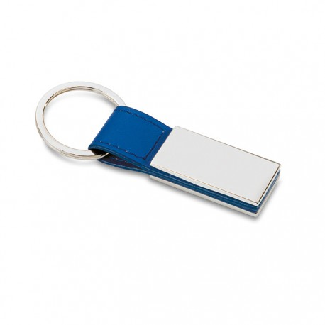 RECTANGLO - PU key ring with square metal plate