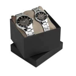 Gents and ladies watch set in metal casing