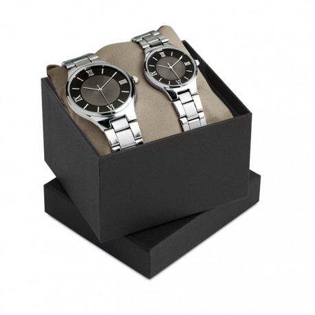 TWO FOR TIME - Gents and ladies watch set in metal casing