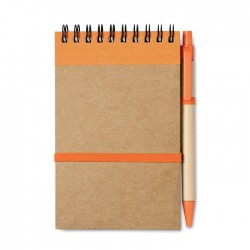 Recycled paper notebook with pen