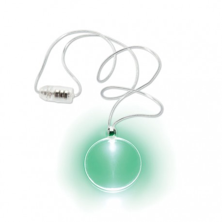 DISCOLUX - Round pendant in PS with LED light and PVC necklace
