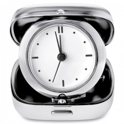 Metal travel alarm clock with carrying case
