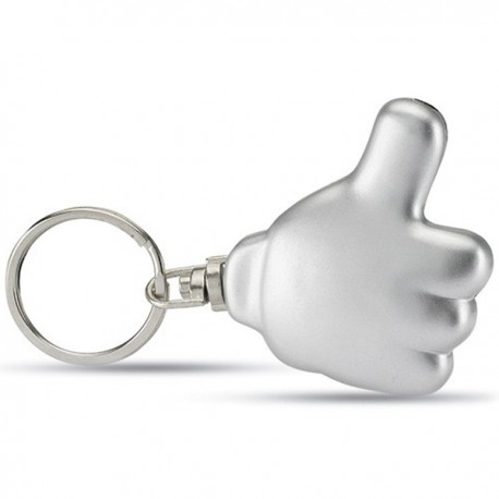 POSITIVO - LED light key ring in plastic with thumbs-up shape