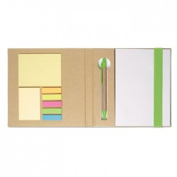 Notebook with sticky notes & pen