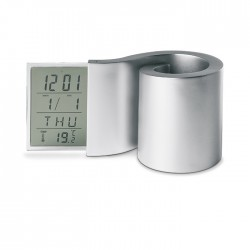 LCD clock with spiral shape pen holder